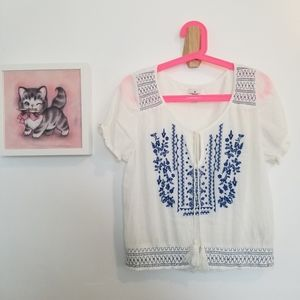 American Eagle Embroidered Peasant Top Whi…